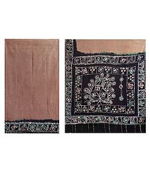 Brown with Black Batik Print Cotton Saree