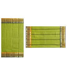 Cotton Green Tangail Saree with Stripe Border