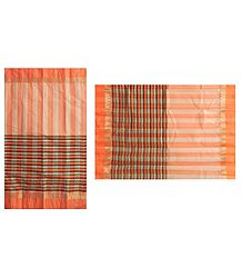 Saffron Stripe Bengal Tant Saree with Saffron and Black Border