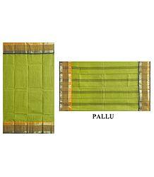 Cotton Green Tangail Saree with Stripe Border