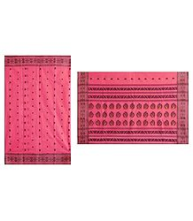 Black Boota on Rose Pink Tangail Saree