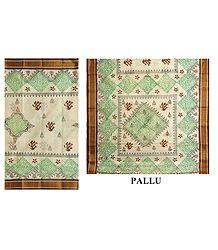 Buy Bengal Cotton Saree with Green & Brown Print