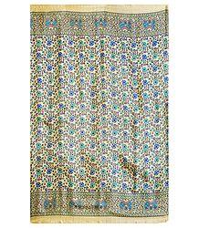 Light Beige Bhagalpuri Silk Saree with Madhubani Print