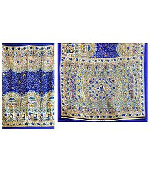 Blue Bhagalpuri Silk Saree with Madhubani Print