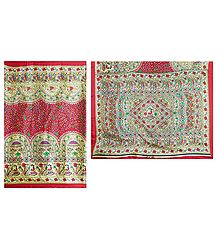 Red Bhagalpuri Silk Saree with Madhubani Print