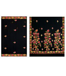 Embroidered Black Chiffon Saree