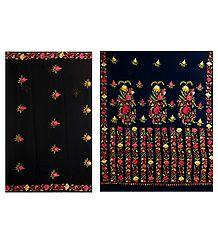 Black Faux Chiffon Saree with Multicolor Ari Embroidery