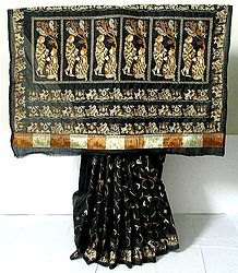 Black  Pure Silk Saree with Ari Stitch Embroidery