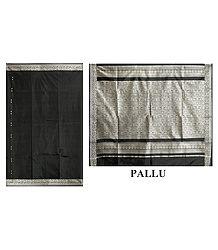 Black Silk Saree with Designer Silver Thread Border