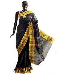 Black Tangail Saree with Gorgeous Golden Yellow Border and Pallu