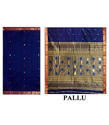 Golden Zari  & Red Boota on Blue Chanderi Saree