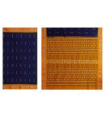 Dark Blue Bomkai Cotton Saree