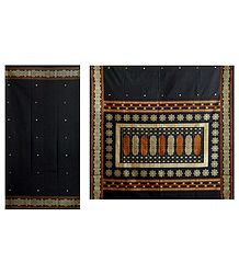 Black Cotton Bomkai Saree with Gorgeous Border and Pallu