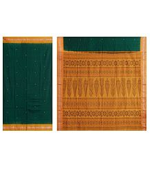 Dark Green Cotton Bomkai Saree with Gorgeous Yellow Border and Pallu