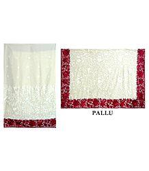 Embroidered White Brasso Saree