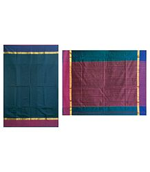 Buy Online Blue Chanderi Saree with Striped Pallu