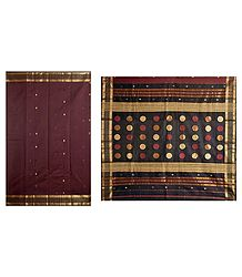 All-Over Golden Zari  Boota on Maroon Chanderi Saree with Zari Border and Pallu