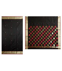 All-Over Golden and Red  Boota on Black Chanderi Saree with Zari Border and Pallu