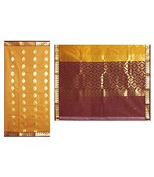 Yellow with Maroon Cotton Silk Saree