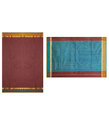 Brick Red Chanderi Saree with Zari Stripe Blue Border