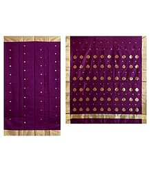 All-Over Golden Zari  Boota on Purple Chanderi Saree with Zari Border and Pallu