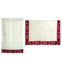Parsi Embroidered Ivory Color Georgette Brasso Saree with Red Border and Pallu