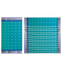 Cyan Blue Synthetic Saree with Dark Blue Border and All-Over Zari Boota