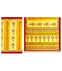 Printed Yellow Synthetic Saree with Red Border