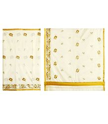 Golden Thread Embroidery on Off-White Kasavu Saree