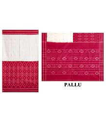 Buy Ikkat Design on Off-White & Red Cotton Saree