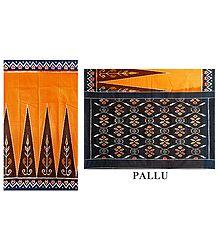 Ikkat Temple Design on Yellow Cotton Saree
