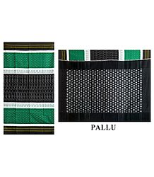 Ikkat Design on Green, White & Black Cotton Saree