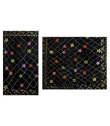 Hand Painted Black Cotton Saree with Print Border
