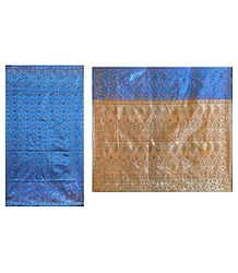 Dark Blue Ghicha Silk Sari with Beige Pallu