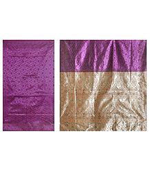 Dark Magenta Ghicha Silk Sari with Beige Pallu