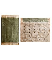 Green Cotton Silk Sari with All-Over Boota and Light Peach Border