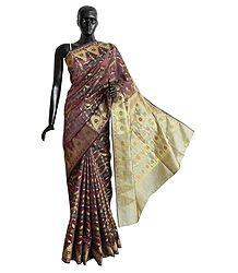 Multicolor Banarasi Jamdani Ghicha Silk Saree