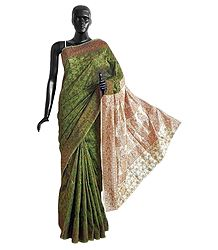 Green Cotton Silk Saree with Weaved Design All-Over and Off-White Anchal