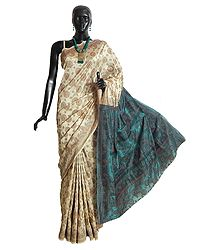 Ivory White Cotton Silk Saree with Weaved Design All-Over and Dark Cyan Anchal