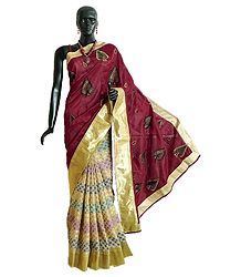 Embroidered Ghicha Silk Half N Half Saree with Multicolor Weaved Design
