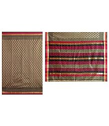 Bagh Print on Dark Khaki Chanderi Saree with Red, Black and Zari Border with Pallu