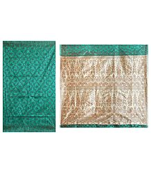 Cyan Green Ghicha Silk Sari with Beige Pallu