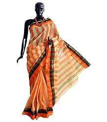 Tangail Saree with Saffron and Black Border