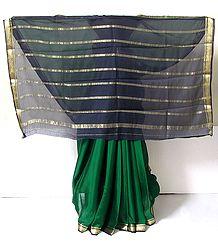 Dark Green Crepe Silk Saree with Black Border and Pallu with Zari Work