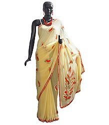 Dark Saffron Applique with Sequin Work on Light Cream Chiffon Saree