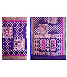 Purple Silk Cotton Saree with Weaved Design