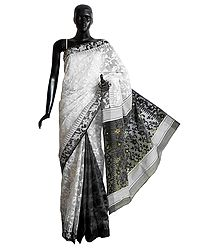 White Weaved Design All-Over on White Cotton Dhakai Saree with Black Border and Pallu