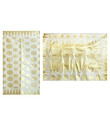 Golden Zari Weaved Design All-Over on Ivory Cotton Tangail Saree with Border and Pallu