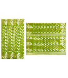 Light Green Dhakai Jamdani Saree with Border and Pallu