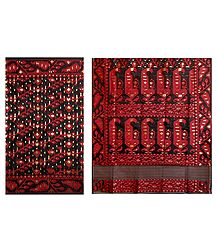Black with Red Dhakai Jamdani Saree with Border and Pallu